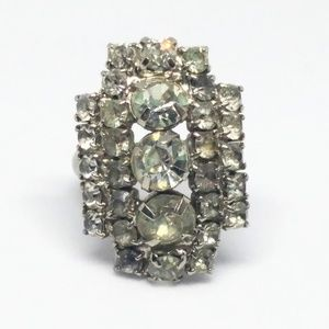 Rhinestone Vintage Art Deco Cocktail Ring